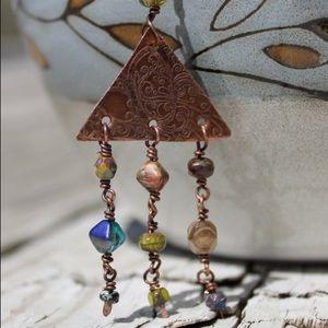 Woodstock Hippy Boho Czech Glass Beaded Necklace